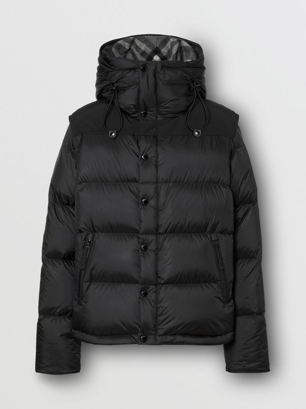 Detachable Sleeve Hooded Puffer Jacket in Black - Men | Burberry - cell image 2