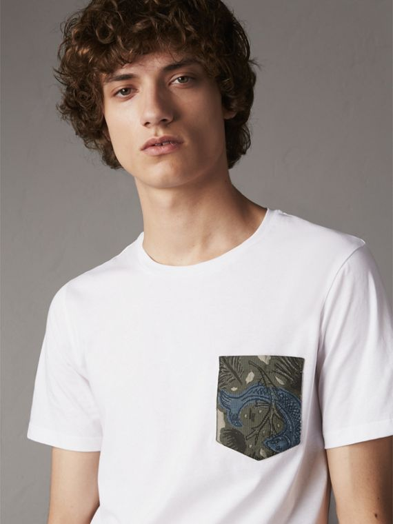 Beasts Jacquard Pocket Detail Cotton T-shirt in White