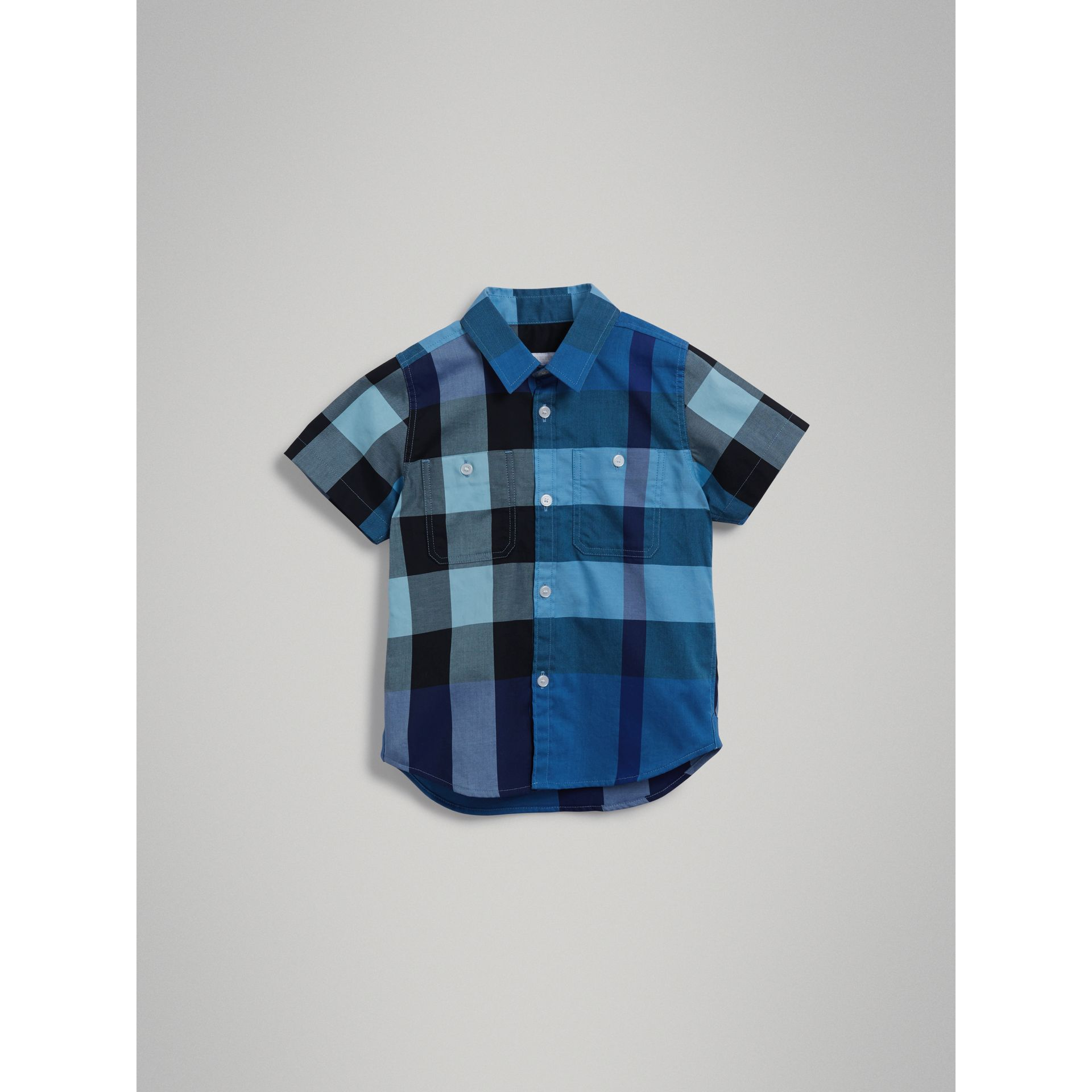 Short-sleeve Check Cotton Shirt in Light Azure - Boy | Burberry - gallery image 2