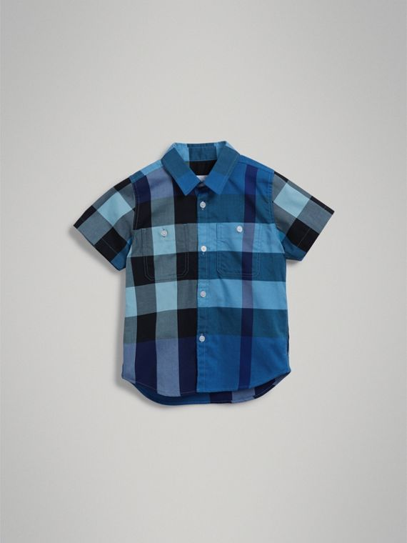 Short-sleeve Check Cotton Shirt in Light Azure - Boy | Burberry - cell image 2