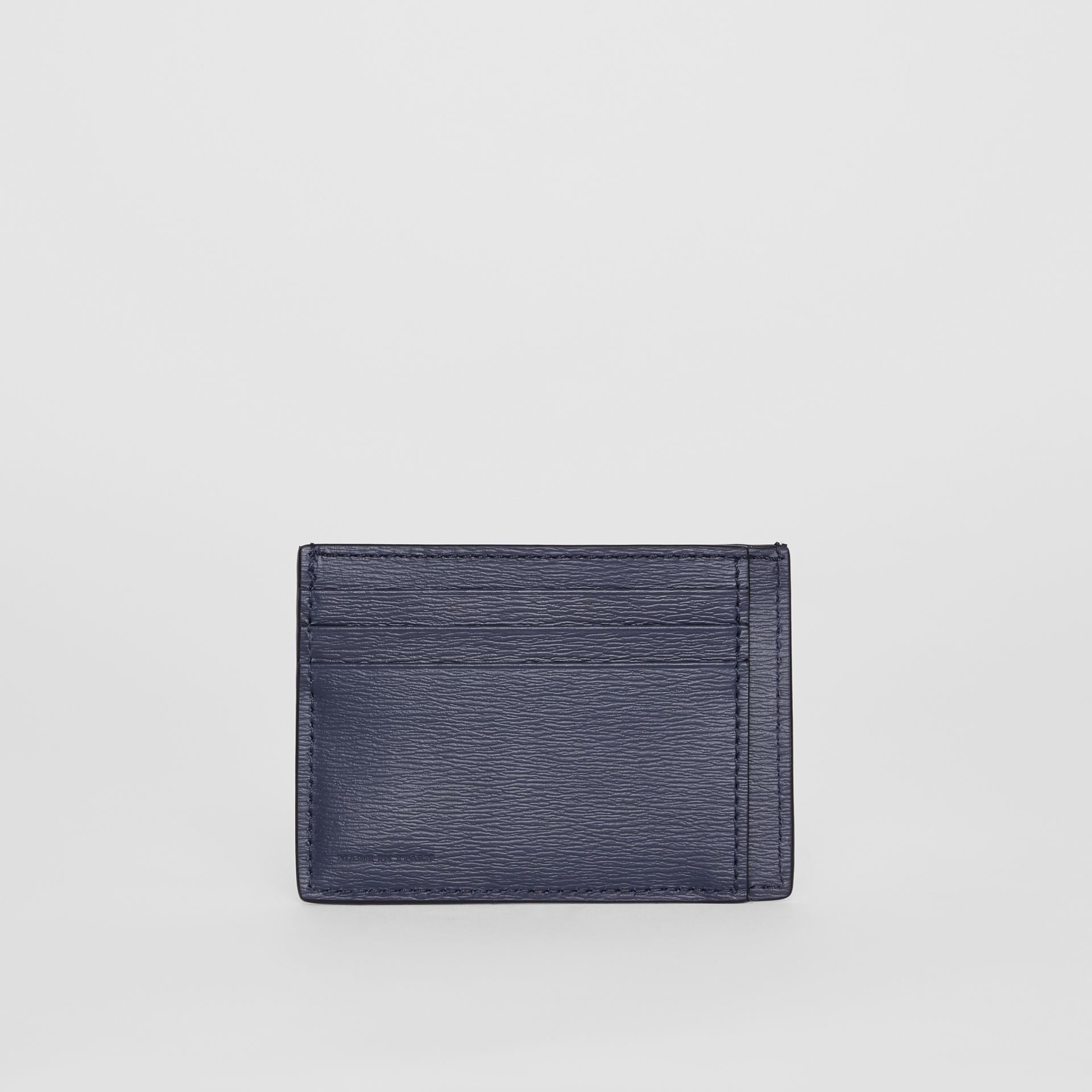 Grainy Leather Card Case in Navy - Men | Burberry - gallery image 4