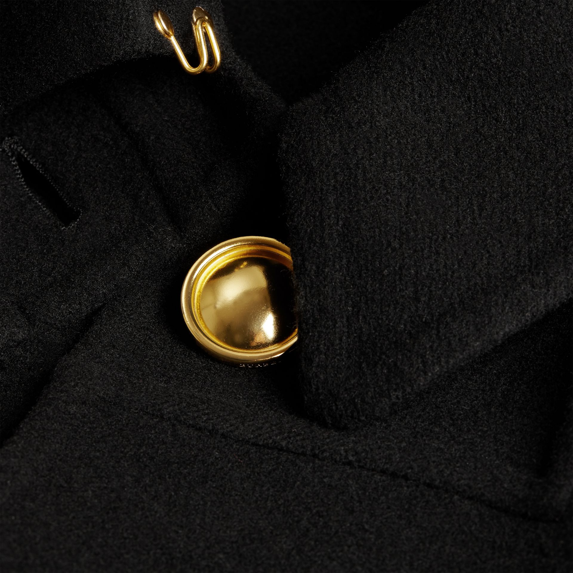 Black Double Cashmere Military Cape - gallery image 2
