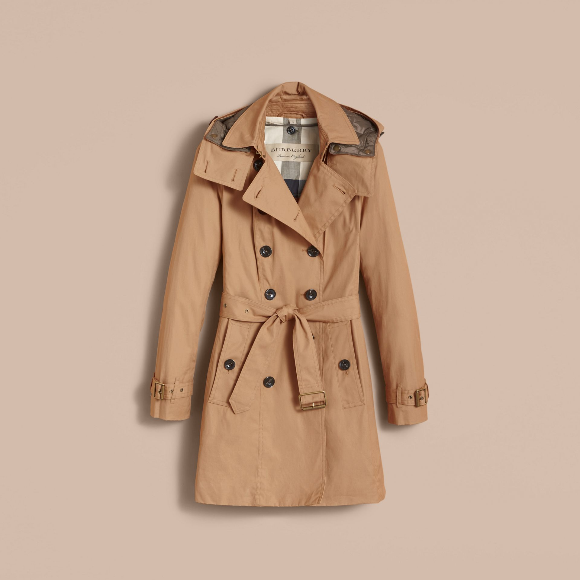 Hooded Trench Coat with Warmer in Light Camel - gallery image 4