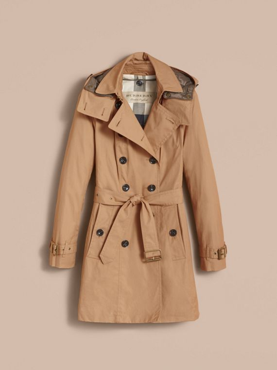 Hooded Trench Coat with Warmer in Light Camel - cell image 3