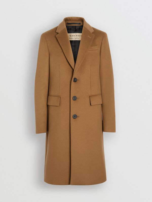 Wool Cashmere Tailored Coat in Dark Camel - Men | Burberry Australia - cell image 3