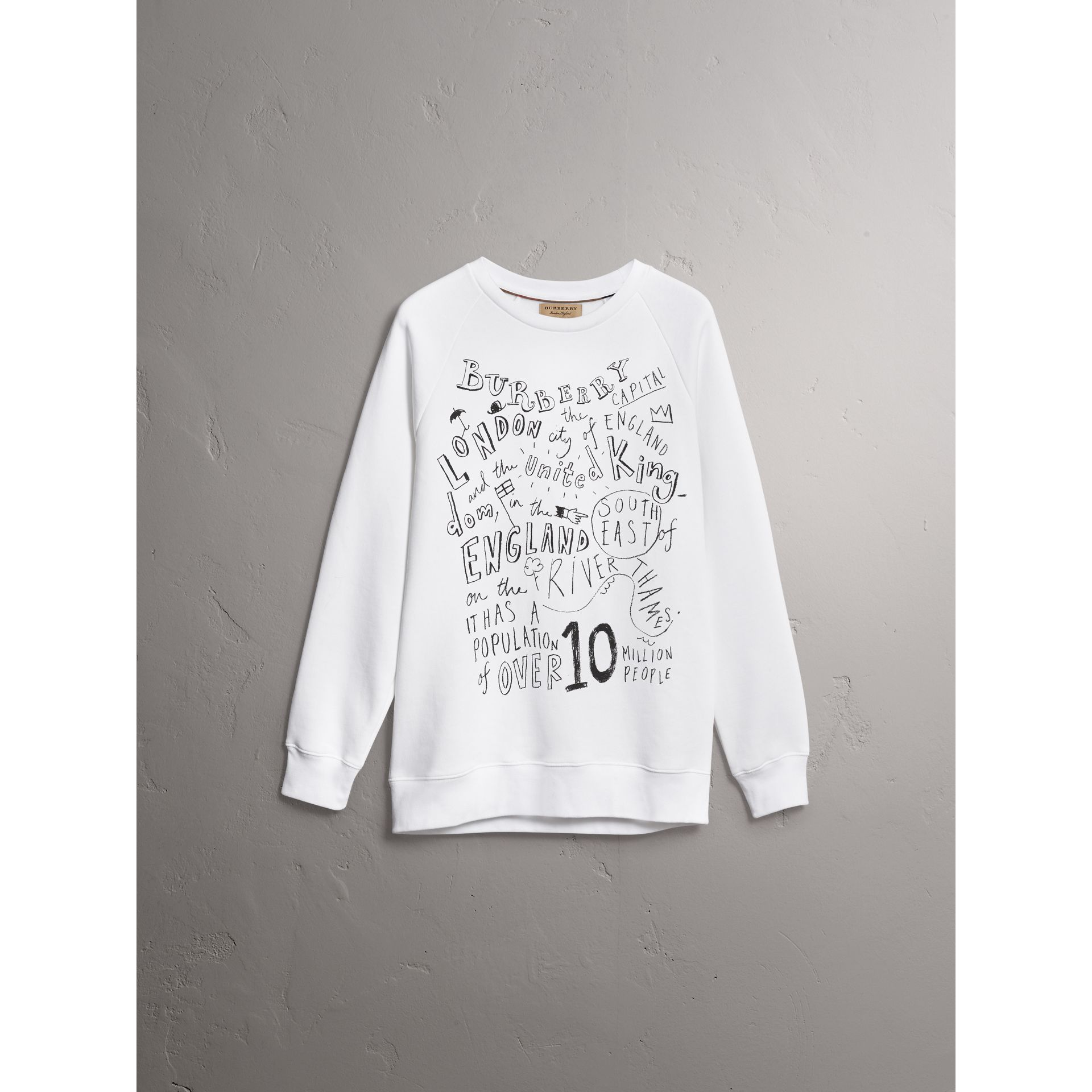 London Icons Print Sweatshirt in White - Men | Burberry - gallery image 3