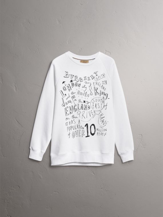 London Icons Print Sweatshirt in White - Men | Burberry - cell image 3