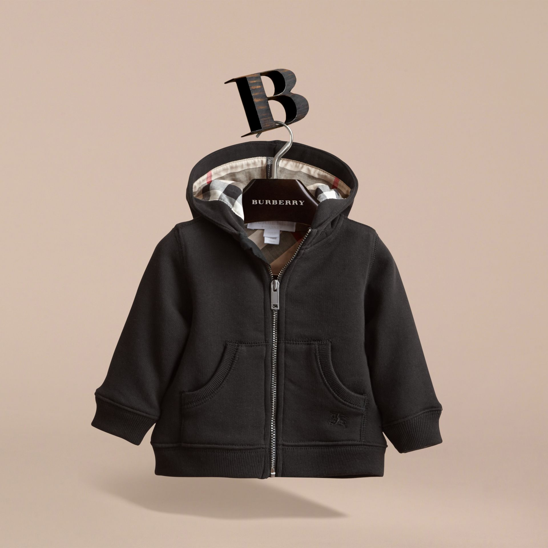 Check Detail Hooded Cotton Top in Black | Burberry - gallery image 3
