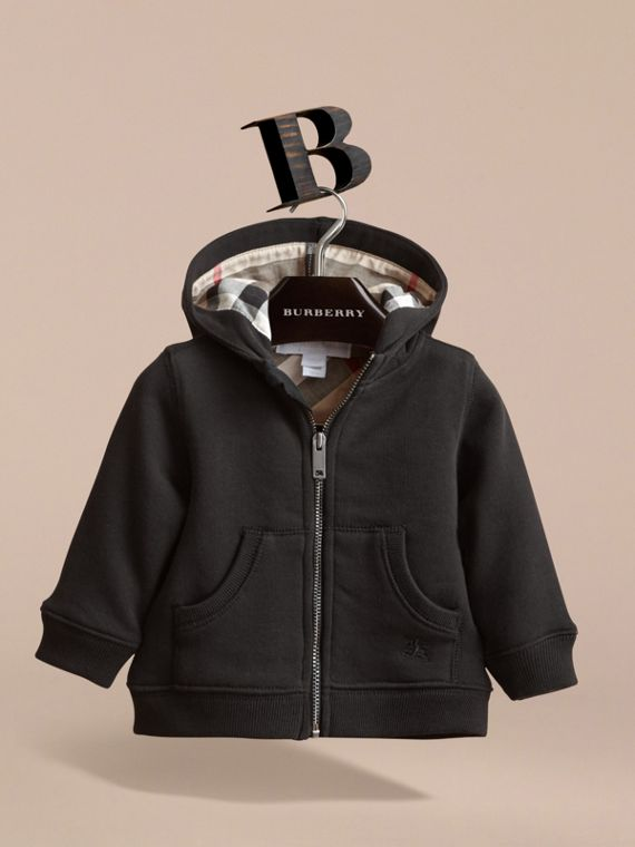 Check Detail Hooded Cotton Top in Black | Burberry - cell image 2