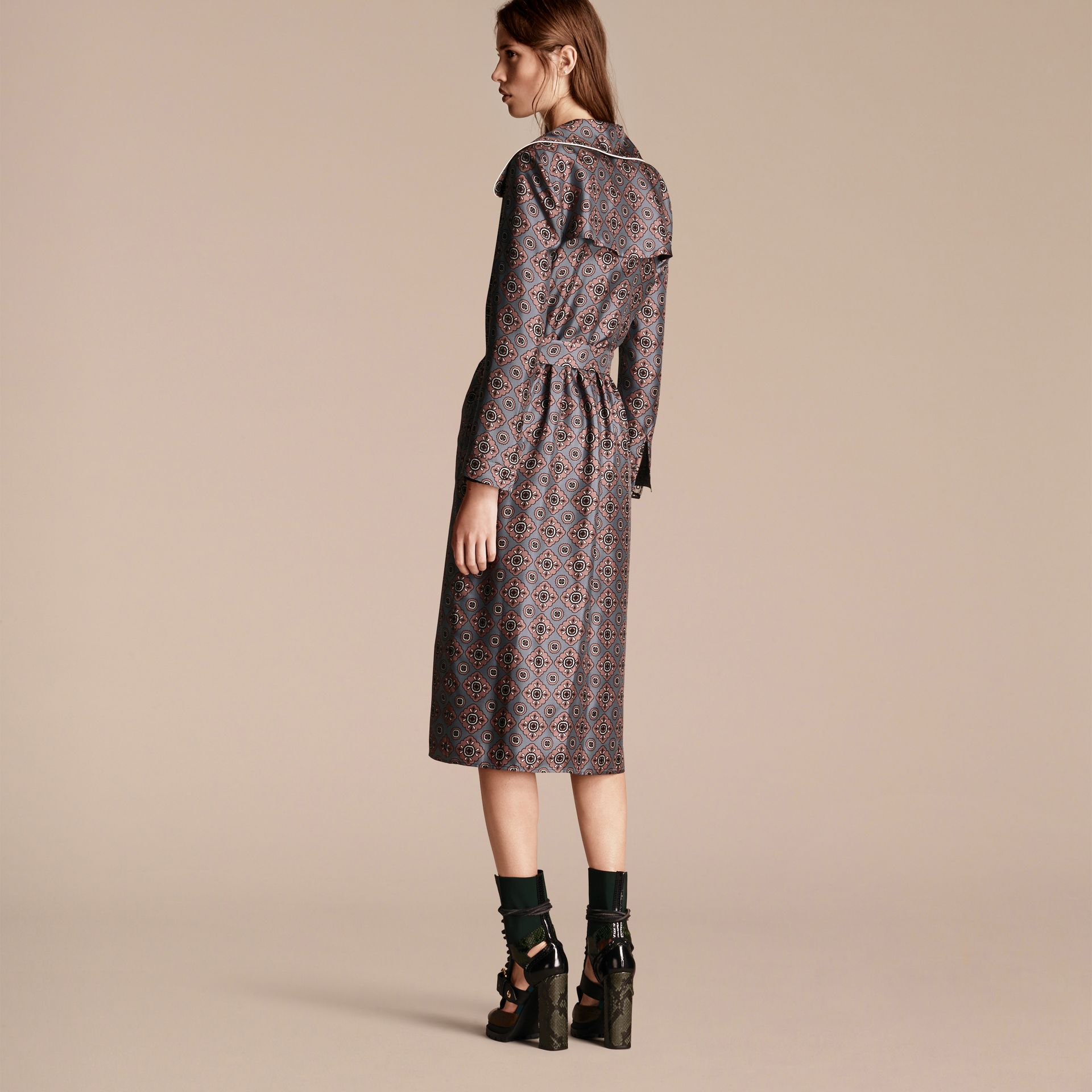 Printed Silk Wrap Trench Dress with Piping - gallery image 3