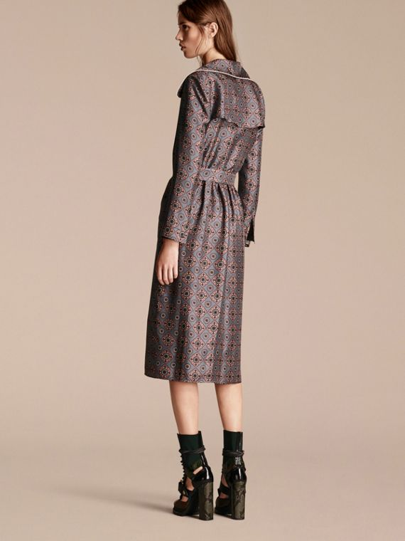 Printed Silk Wrap Trench Dress with Piping - cell image 2