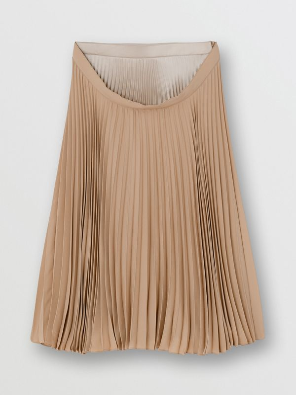 Pleated Double-waist Skirt in Sandbank - Women | Burberry Australia - cell image 3