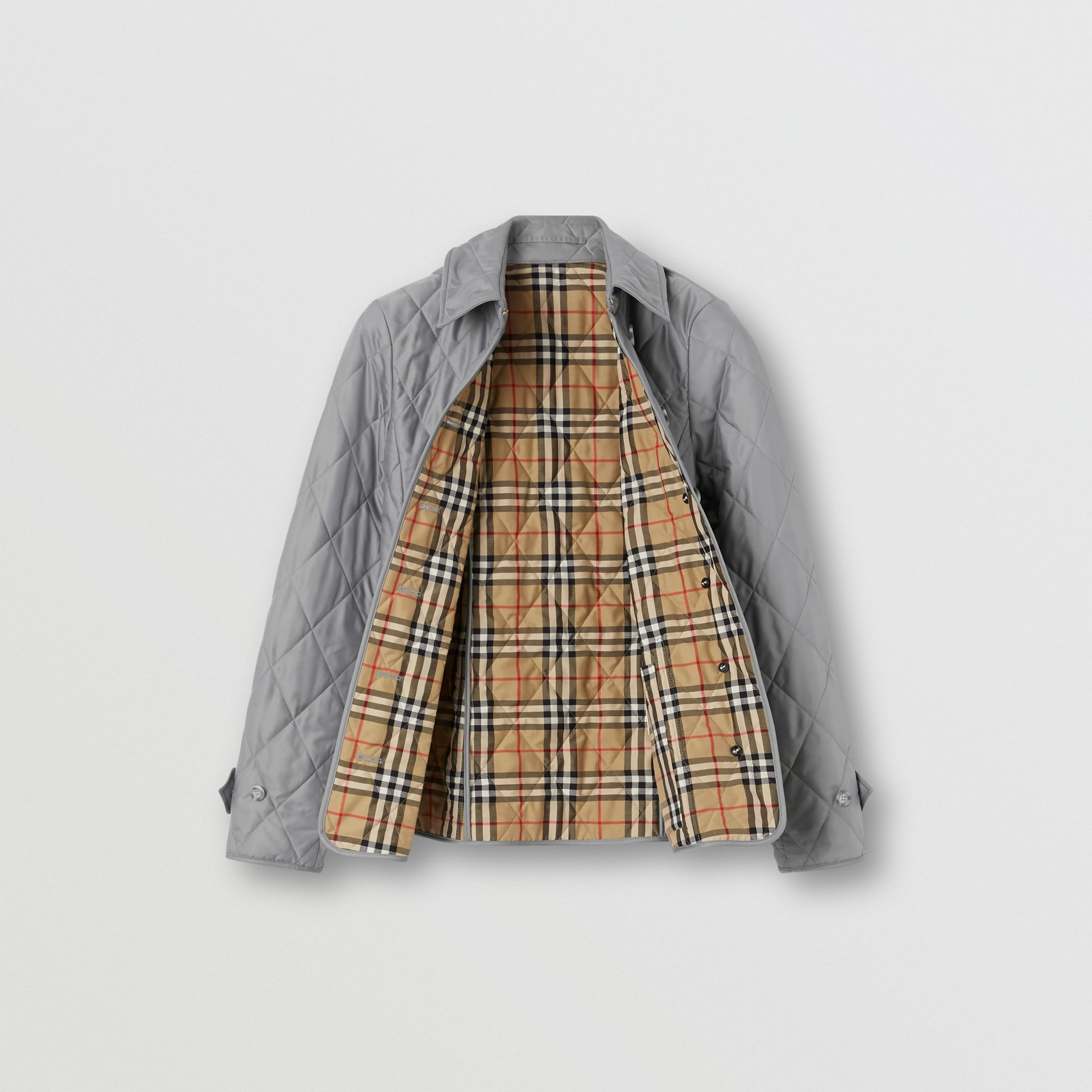 Diamond Quilted Thermoregulated Jacket in Mid Grey - Women | Burberry - gallery image 7