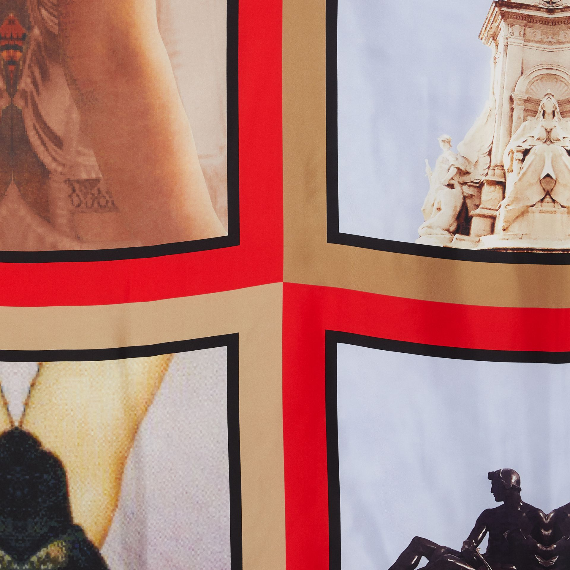 Montage Print Silk Large Square Scarf in Beige Red | Burberry - gallery image 1