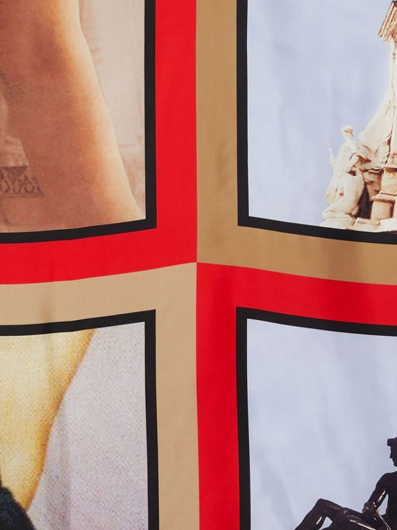 Montage Print Silk Large Square Scarf in Beige Red | Burberry United Kingdom - cell image 1