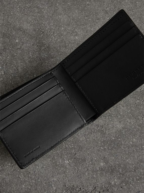 Embossed Leather Bifold Wallet in Neon Yellow - Men | Burberry United States - cell image 3
