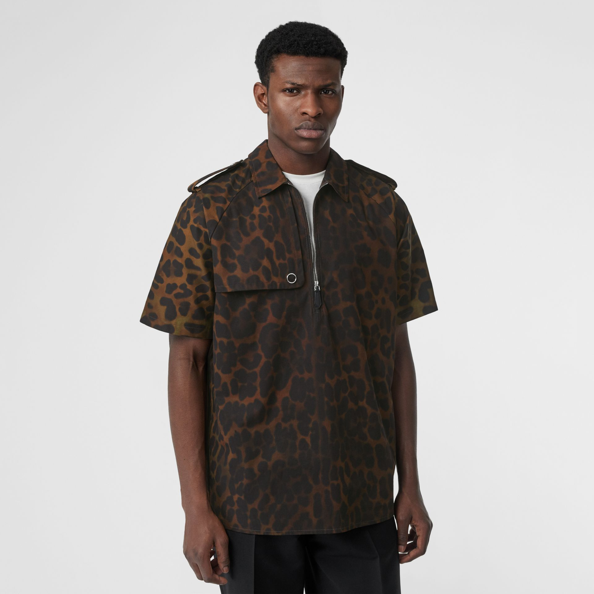 Short-sleeve Leopard Print Cotton Shirt in Khaki Green | Burberry Canada - gallery image 5