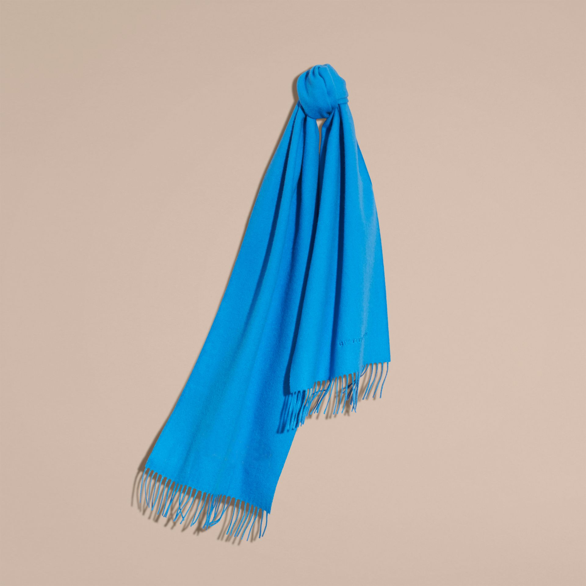 The Classic Cashmere Scarf Bright Cornflower Blue - gallery image 6