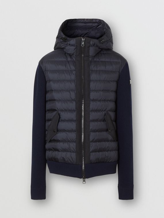 Puffer Detail Technical Knit Hooded Jacket in Navy