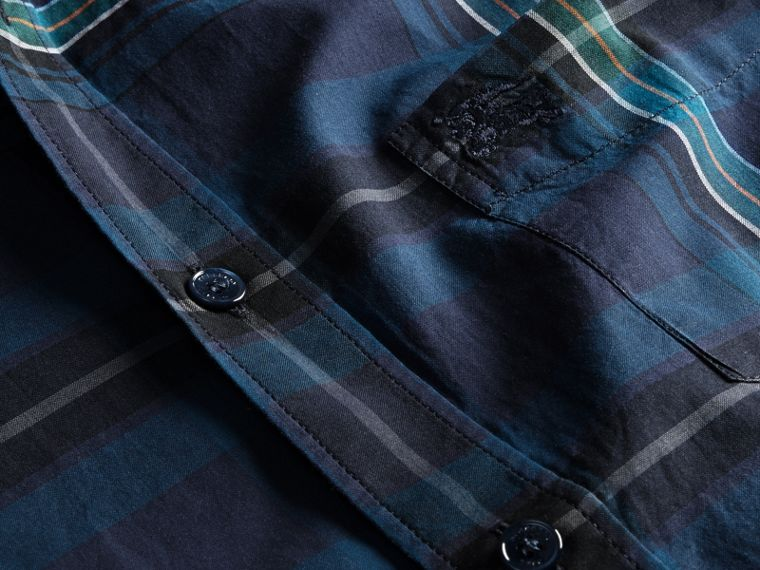 Indaco Camicia in cotone con motivo tartan e colletto button-down Indaco - cell image 1