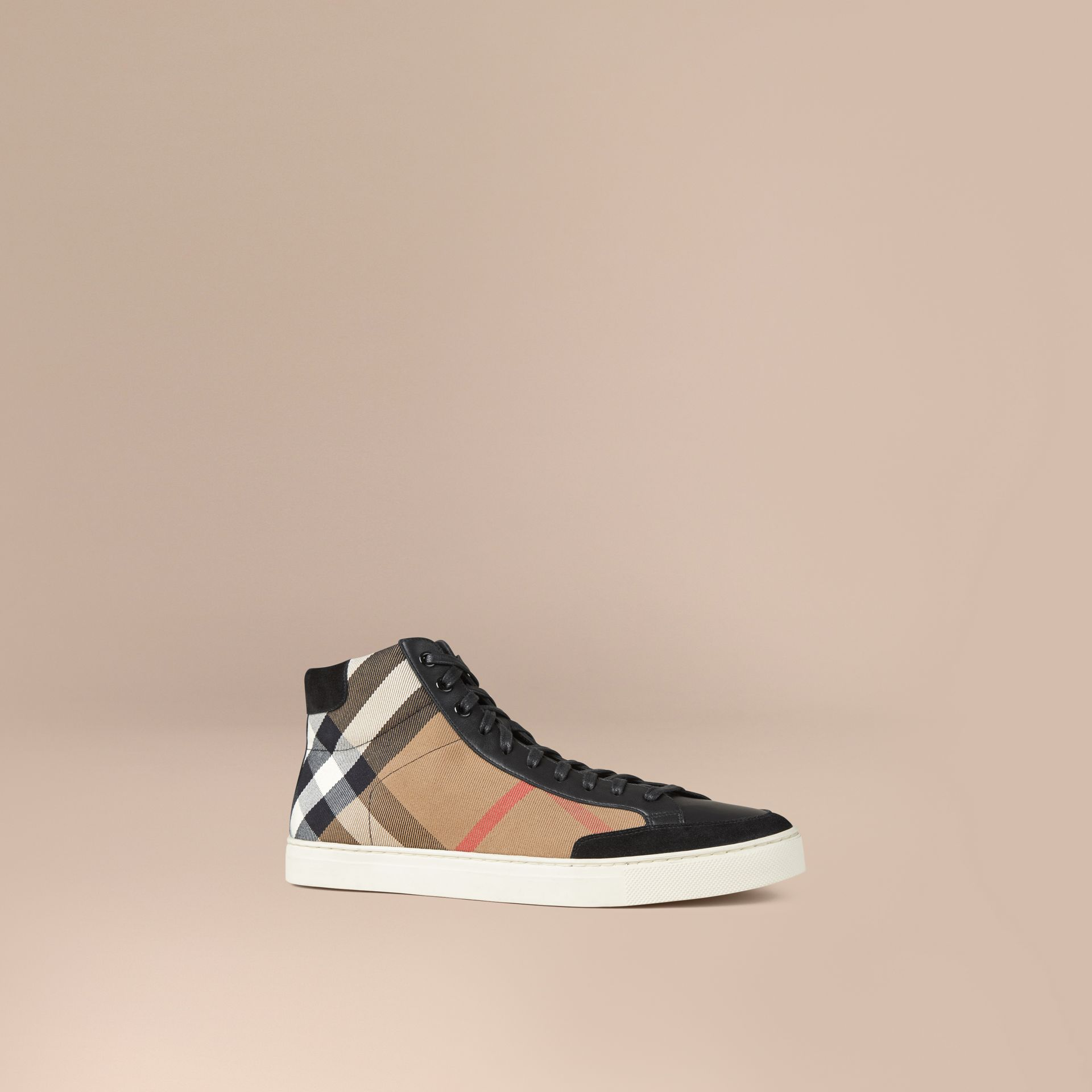 House Check and Leather High-top Trainers - Men | Burberry - gallery image 1