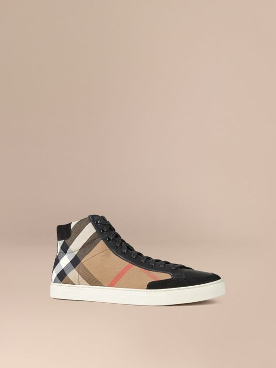 House Check and Leather High-top Trainers - Men | Burberry Singapore