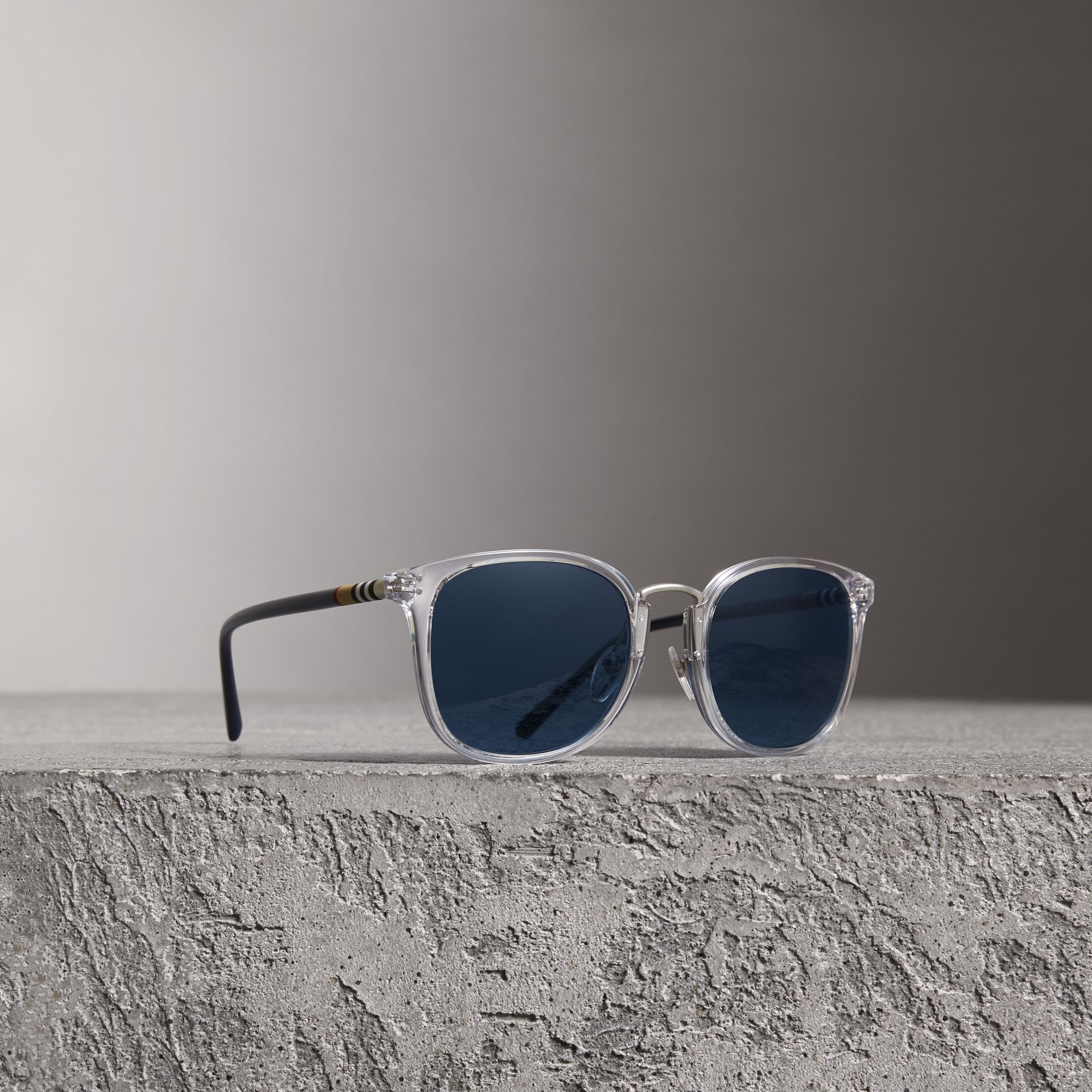 Square Frame Acetate Sunglasses in Crystal - Men | Burberry - gallery image 0