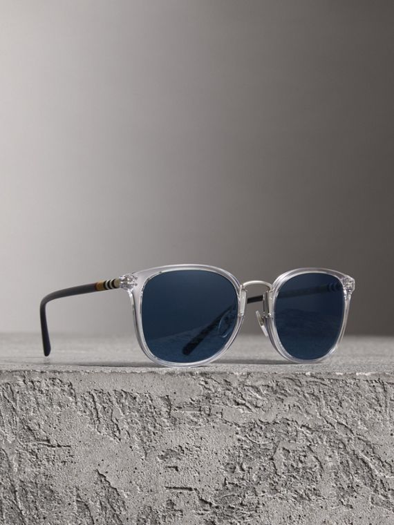 Square Frame Acetate Sunglasses in Crystal