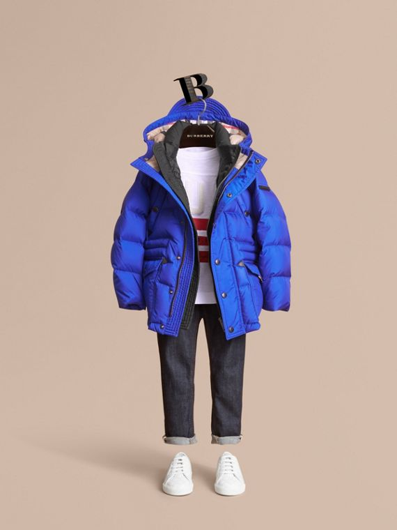 Down-filled Hooded Puffer Jacket in Brilliant Blue - Boy | Burberry Canada
