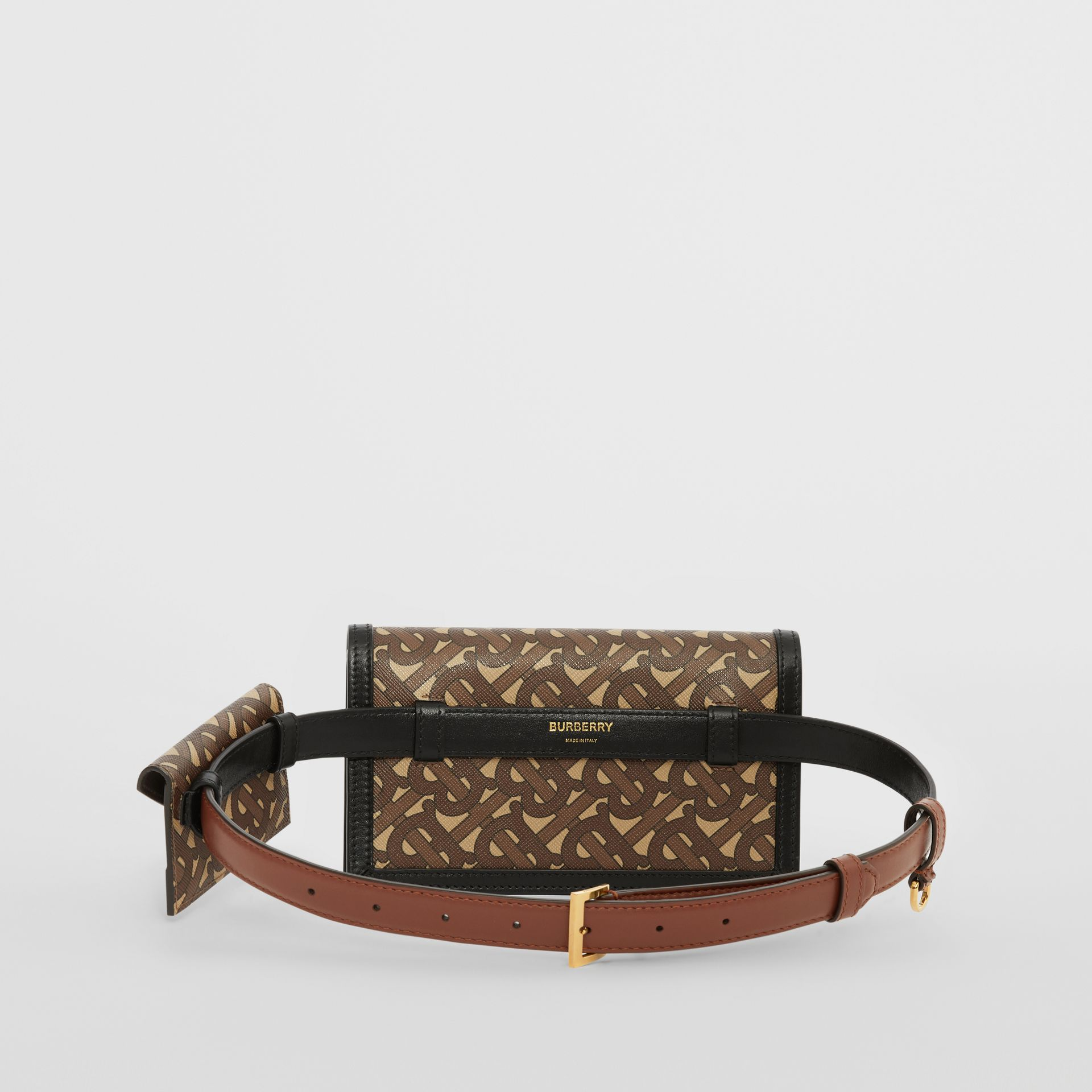 Belted Monogram E-canvas TB Envelope Clutch in Bridle Brown - Women | Burberry - gallery image 6