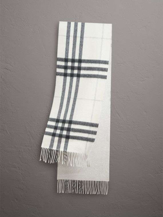 Reversible Metallic Check Cashmere Scarf in Natural White