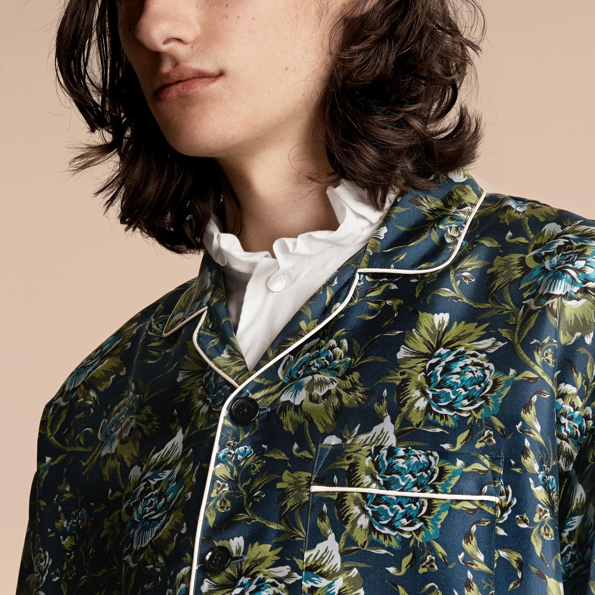 Peony Rose Silk Twill Pyjama-style Shirt - gallery image 6