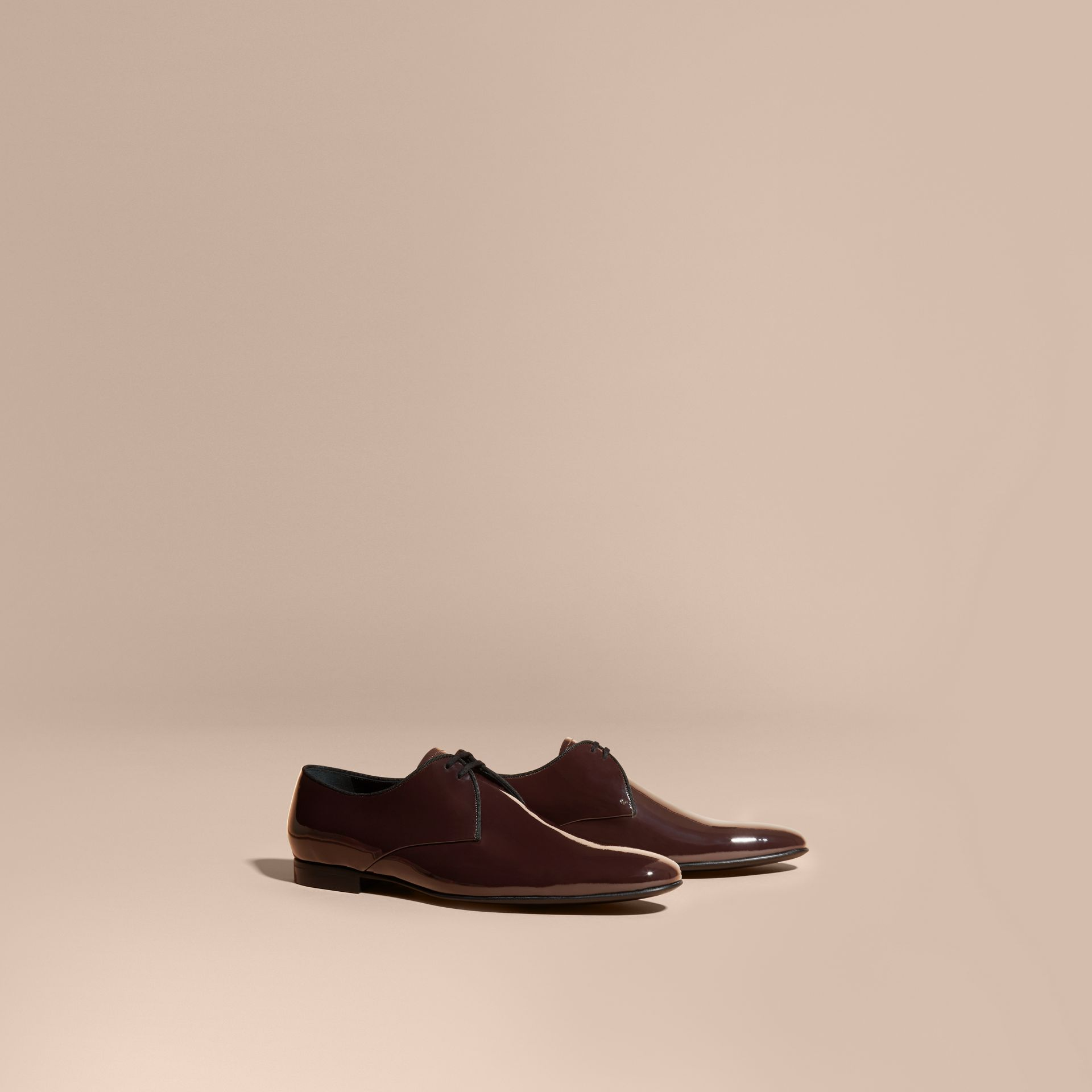 Dark claret Polished Leather Lace-up Shoes Dark Claret - gallery image 1
