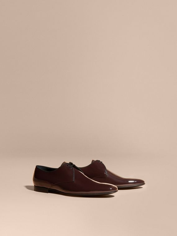 Polished Leather Lace-up Shoes Dark Claret