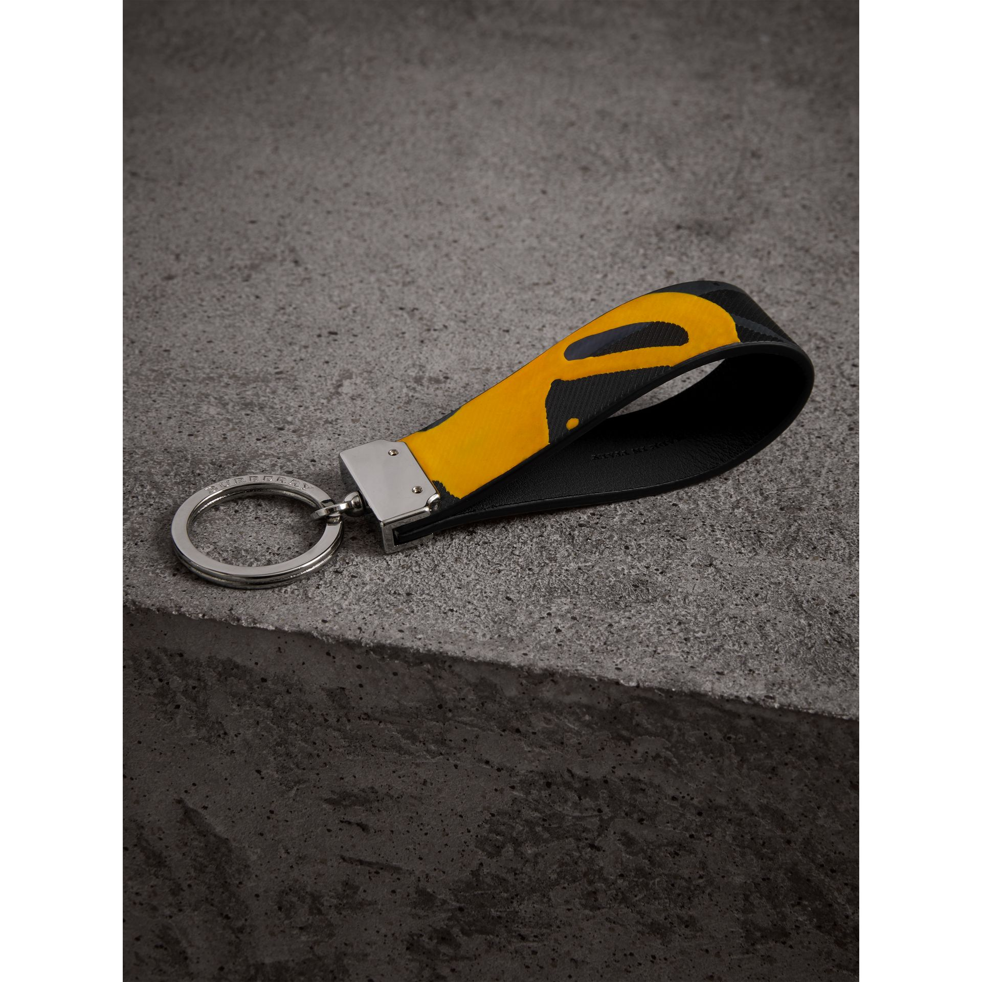 Splash Trench Leather Key Ring in Black/splash | Burberry - gallery image 2