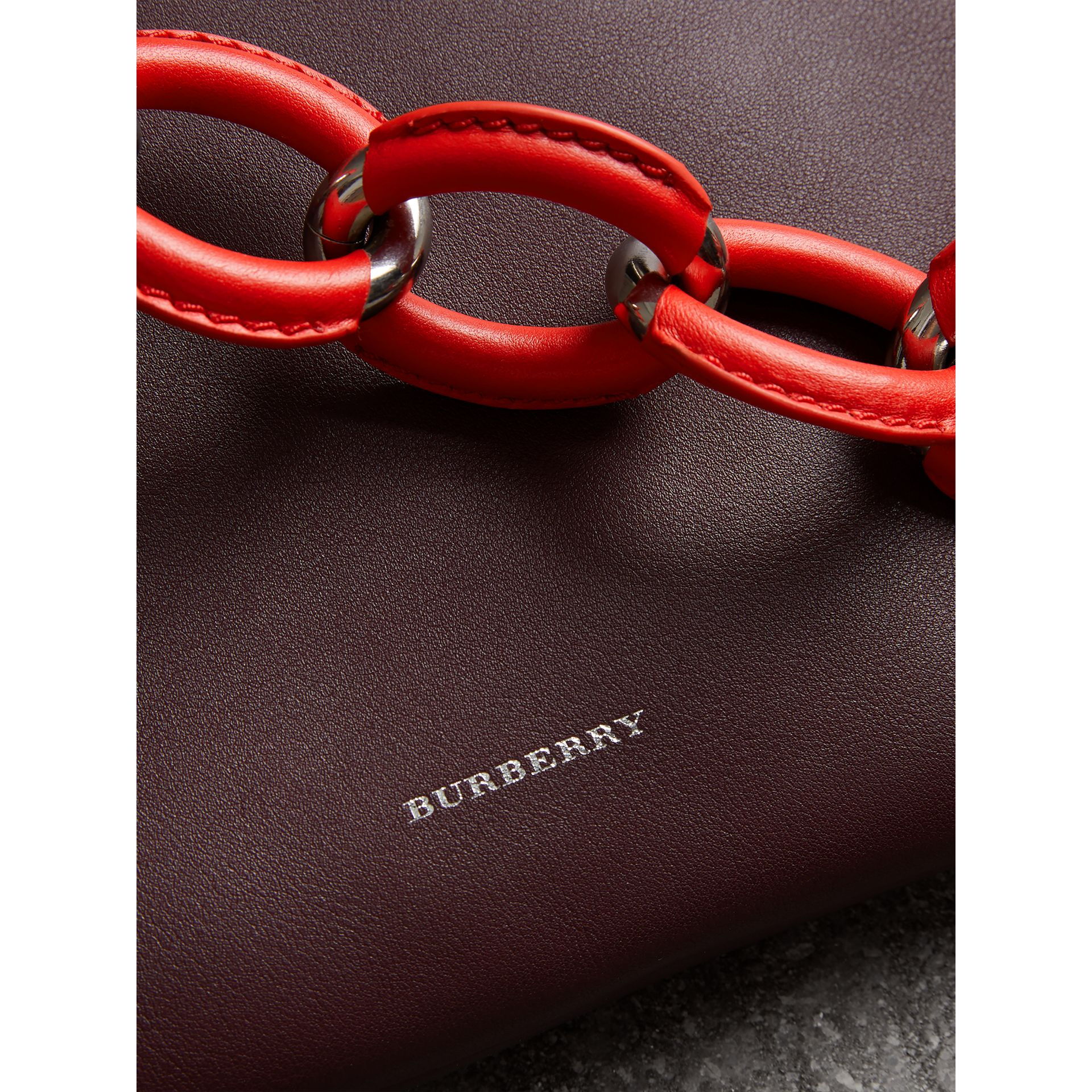 Medium Two-tone Leather Shopper in Deep Claret - Women | Burberry - gallery image 1