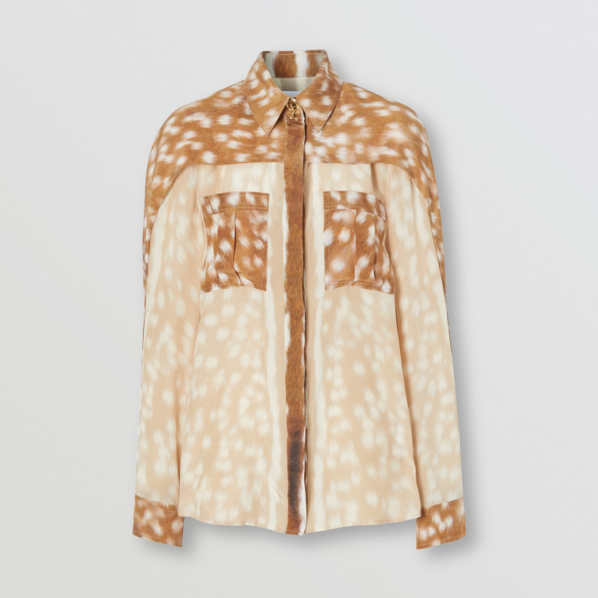 Cape Sleeve Deer Print Silk Shirt in Soft Fawn - Women | Burberry - gallery image 3