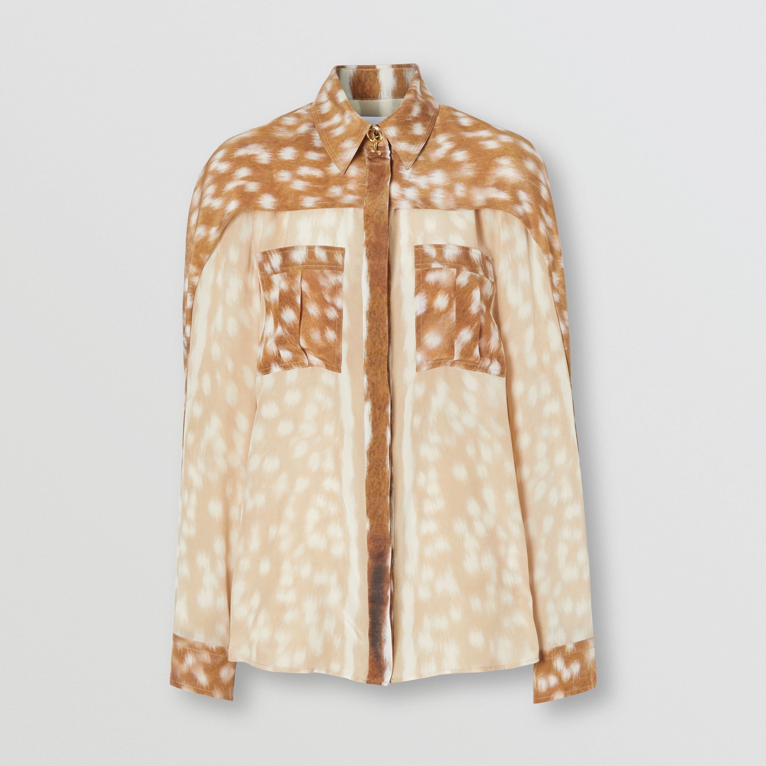 Cape Sleeve Deer Print Silk Shirt in Soft Fawn - Women | Burberry - 4