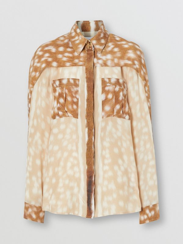 Cape Sleeve Deer Print Silk Shirt in Soft Fawn - Women | Burberry United Kingdom - cell image 3
