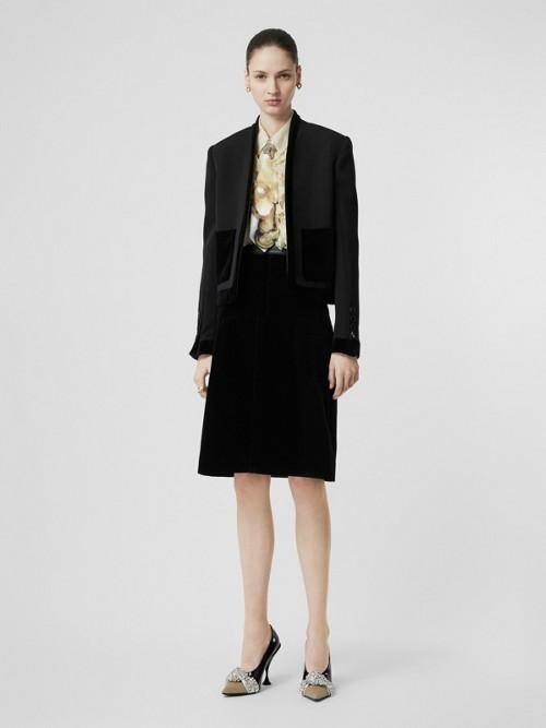 Burberry Velvet Detail Wool Tailored Jacket In Black