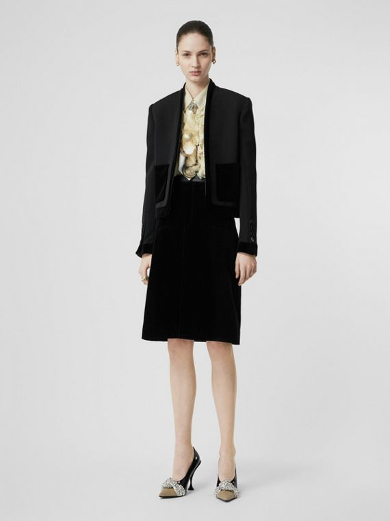 Velvet Detail Wool Tailored Jacket in Black
