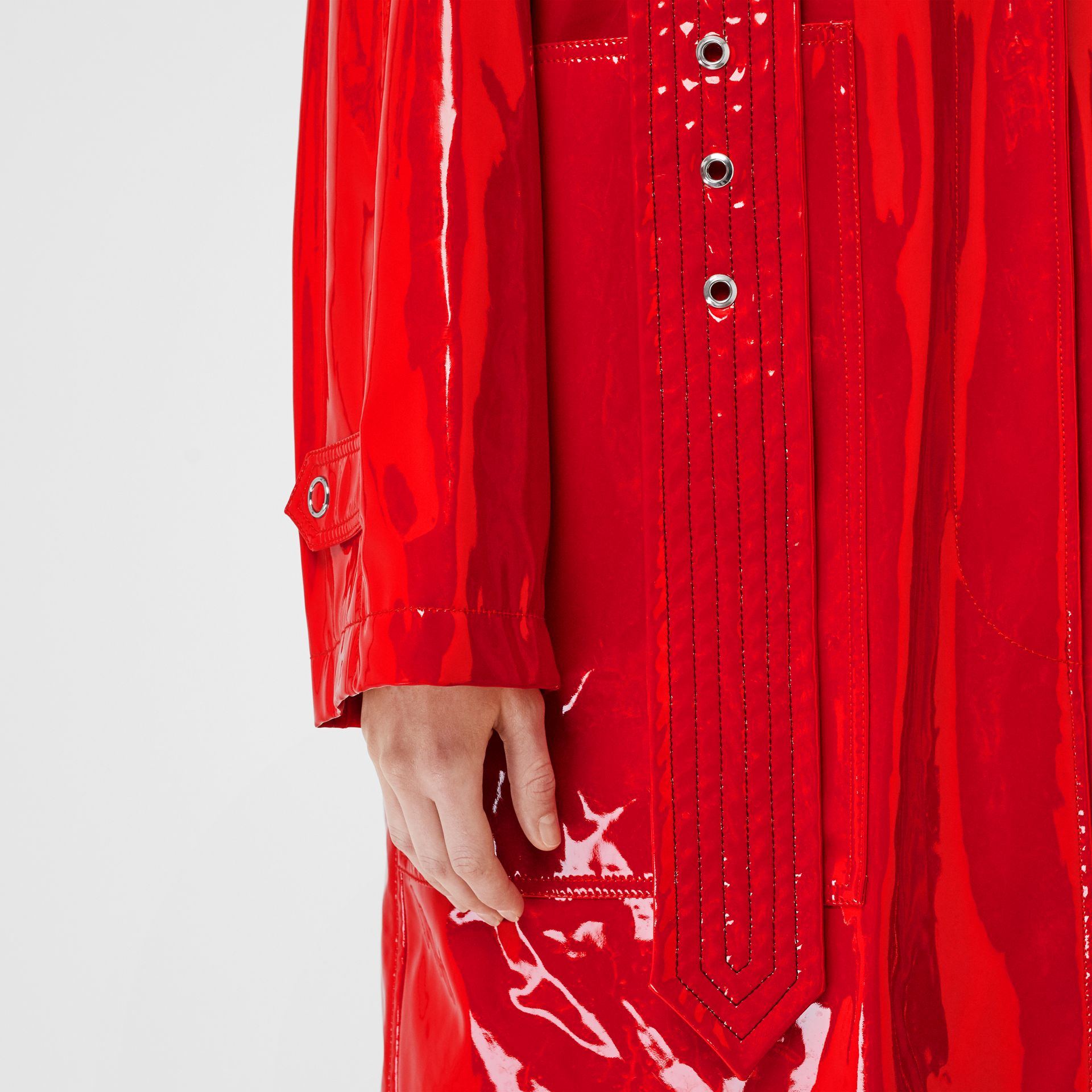 Belt Detail Laminated Car Coat in Bright Red - Women | Burberry - gallery image 4