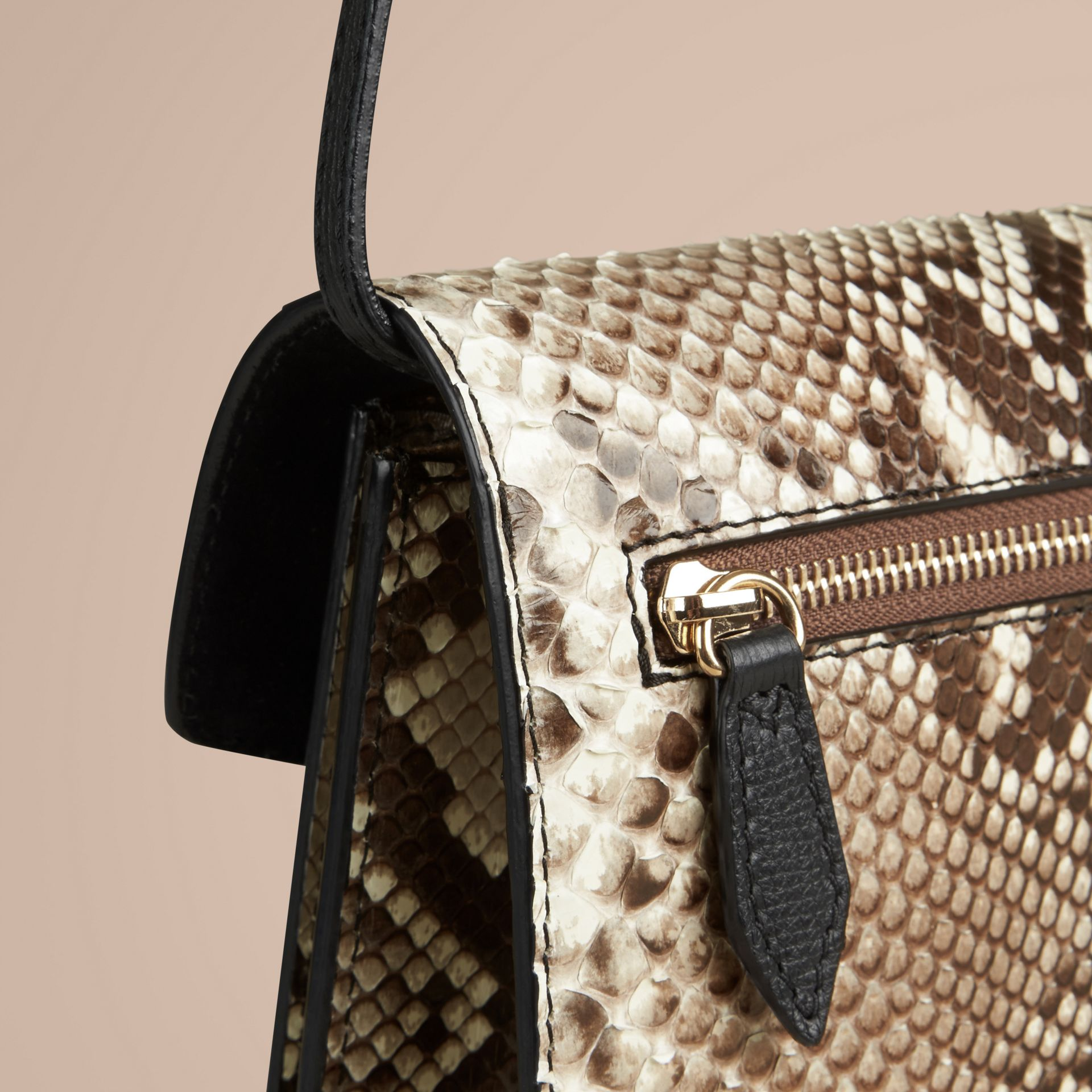 Small Python Crossbody Bag in Natural - Women | Burberry - gallery image 5