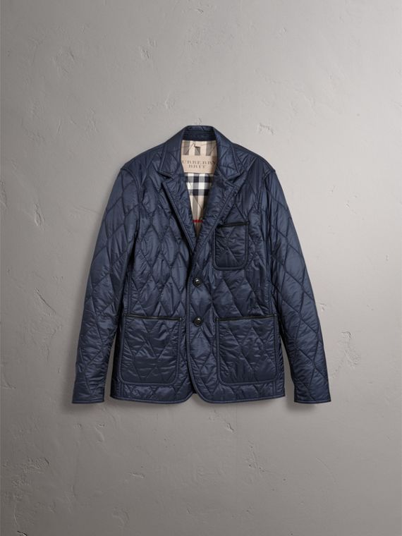Lambskin Trim Quilted Blazer in Navy - Men | Burberry - cell image 3