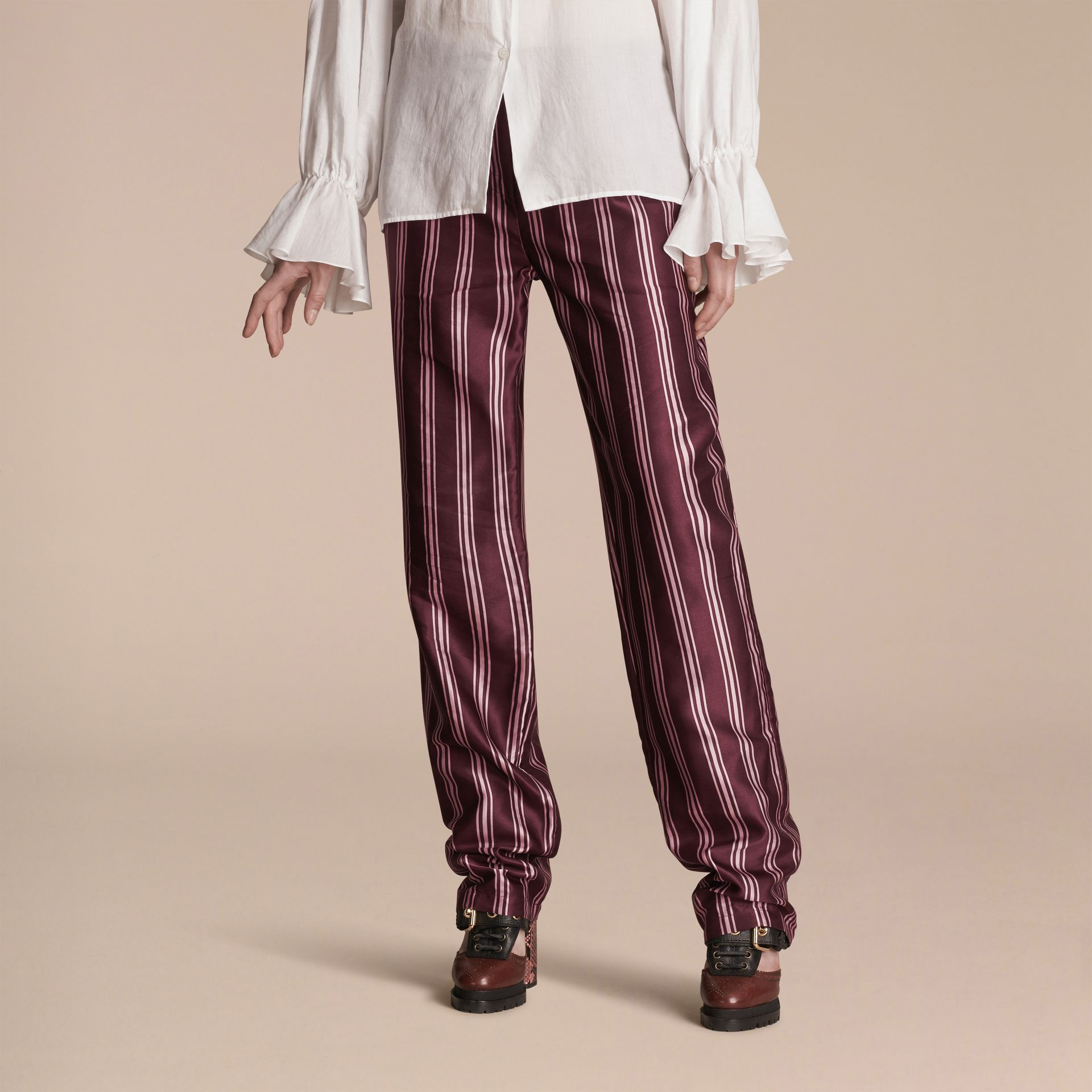Crimson Panama Stripe Cotton Silk Satin Pyjama-style Trousers - gallery image 1