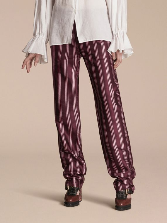 Panama Stripe Cotton Silk Satin Pyjama-style Trousers