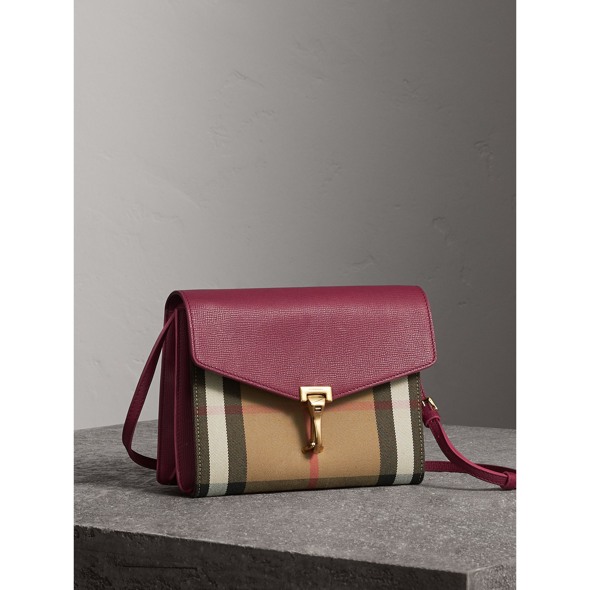 Small Leather and House Check Crossbody Bag in Berry Pink - Women | Burberry - gallery image 6