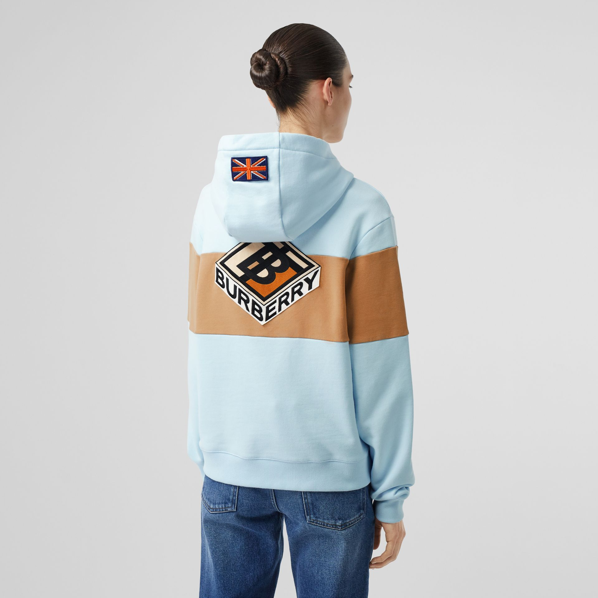 Logo Graphic Panelled Cotton Oversized Hoodie in Pale Blue - Women | Burberry - gallery image 2