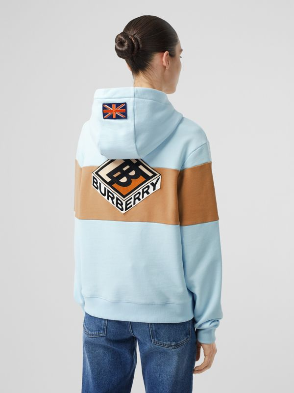 Logo Graphic Panelled Cotton Oversized Hoodie in Pale Blue - Women | Burberry - cell image 2
