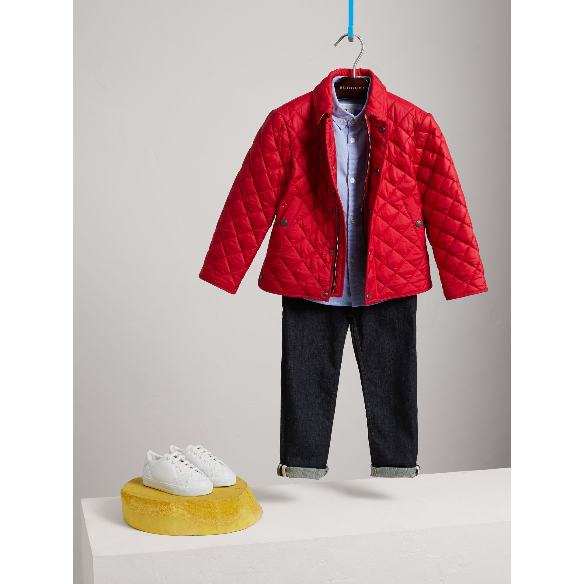 Diamond Quilted Jacket in Bright Cherry Red - Boy | Burberry United Kingdom - gallery image 0